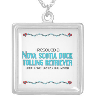 I Rescued a Duck Tolling Retriever (Male Dog) Square Pendant Necklace
