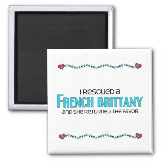 I Rescued a French Brittany (Female Dog) 2 Inch Square Magnet