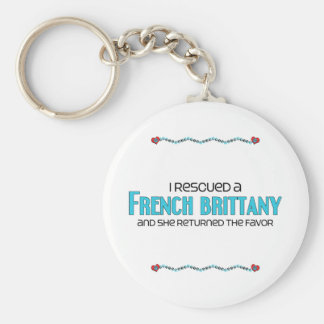 I Rescued a French Brittany (Female Dog) Basic Round Button Keychain