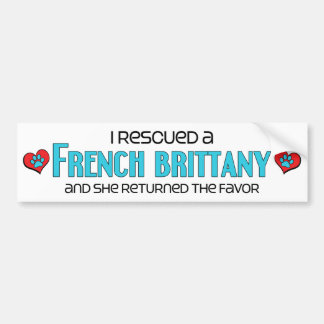 I Rescued a French Brittany (Female Dog) Car Bumper Sticker