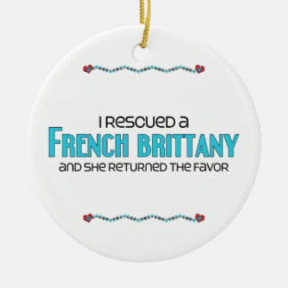 I Rescued a French Brittany (Female Dog) Double-Sided Ceramic Round Christmas Ornament
