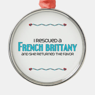 I Rescued a French Brittany (Female Dog) Round Metal Christmas Ornament