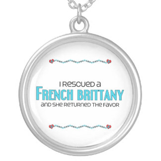 I Rescued a French Brittany (Female Dog) Round Pendant Necklace