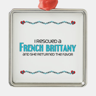 I Rescued a French Brittany (Female Dog) Square Metal Christmas Ornament