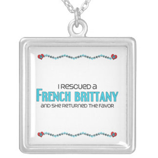 I Rescued a French Brittany (Female Dog) Square Pendant Necklace