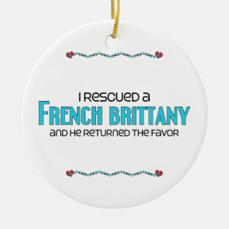 I Rescued a French Brittany (Male Dog) Double-Sided Ceramic Round Christmas Ornament