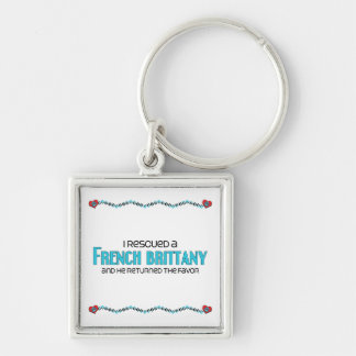 I Rescued a French Brittany (Male Dog) Silver-Colored Square Keychain