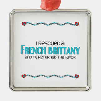 I Rescued a French Brittany (Male Dog) Square Metal Christmas Ornament