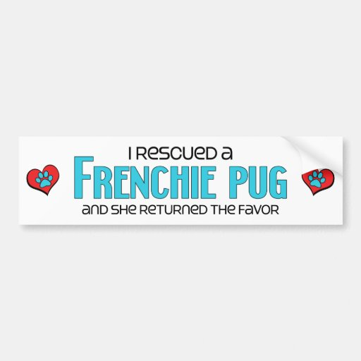 I Rescued a Frenchie Pug (Female) Dog Adoption Bumper Stickers
