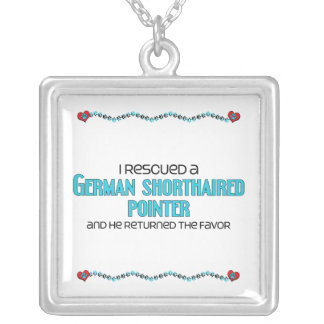 I Rescued a German Shorthaired Pointer (Male Dog) Square Pendant Necklace
