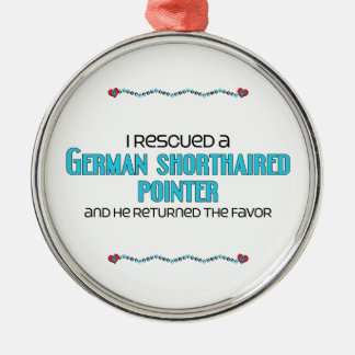 I Rescued a German Shorthaired Pointer (Male Dog) Round Metal Christmas Ornament
