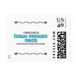 I Rescued a German Wirehaired Pointer (Male Dog) Postage Stamps