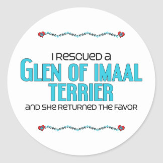 I Rescued a Glen of Imaal Terrier (Female Dog) Classic Round Sticker