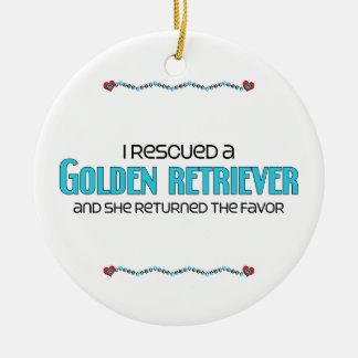 I Rescued a Golden Retriever (Female Dog) Ceramic Ornament