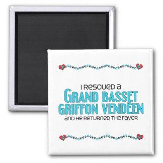 I Rescued a Grand Basset Griffon Vendéen (Male) 2 Inch Square Magnet