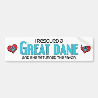 I Rescued a Great Dane (Female Dog) Bumper Sticker