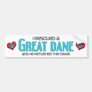 I Rescued a Great Dane (Male Dog) Bumper Sticker