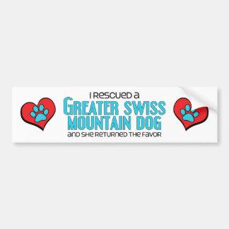 I Rescued a Greater Swiss Mountain Dog (Female) Bumper Sticker