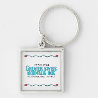 I Rescued a Greater Swiss Mountain Dog (Female) Silver-Colored Square Keychain