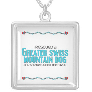 I Rescued a Greater Swiss Mountain Dog (Female) Square Pendant Necklace
