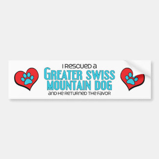 I Rescued a Greater Swiss Mountain Dog (Male Dog) Bumper Sticker