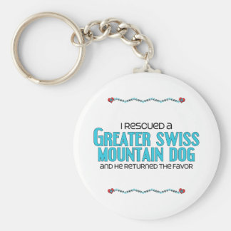 I Rescued a Greater Swiss Mountain Dog (Male Dog) Basic Round Button Keychain