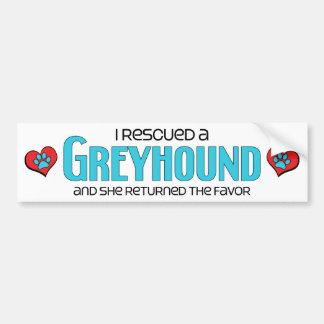 I Rescued a Greyhound (Female Dog) Bumper Sticker