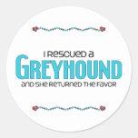 I Rescued a Greyhound (Female Dog) Classic Round Sticker
