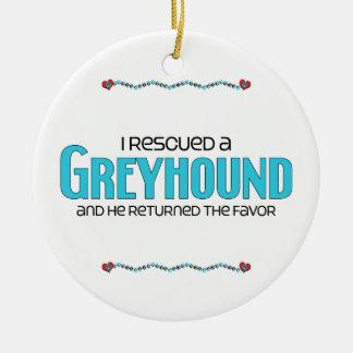 I Rescued a Greyhound (Male Dog) Ceramic Ornament