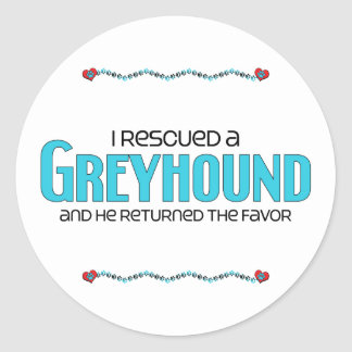 I Rescued a Greyhound (Male Dog) Classic Round Sticker