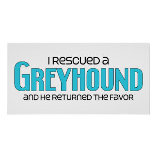 I Rescued a Greyhound (Male Dog) Poster