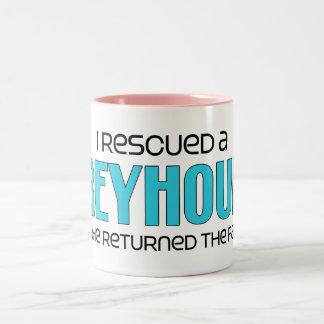 I Rescued a Greyhound (Male Dog) Two-Tone Coffee Mug