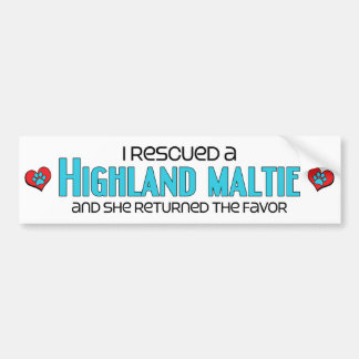 I Rescued a Highland Maltie (Female) Dog Adoption Bumper Sticker