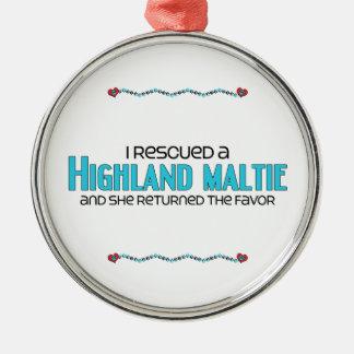 I Rescued a Highland Maltie (Female) Dog Adoption Round Metal Christmas Ornament