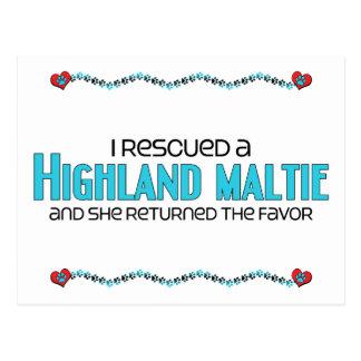 I Rescued a Highland Maltie (Female) Dog Adoption Postcard