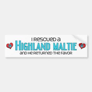I Rescued a Highland Maltie (Male) Dog Adoption Bumper Stickers