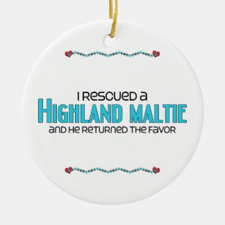 I Rescued a Highland Maltie (Male) Dog Adoption Double-Sided Ceramic Round Christmas Ornament