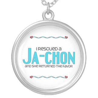 I Rescued a Ja-Chon (Female) Dog Adoption Design Round Pendant Necklace