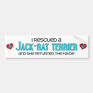 I Rescued a Jack-Rat Terrier (Female) Dog Adoption Car Bumper Sticker