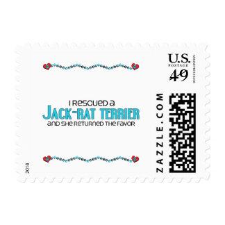I Rescued a Jack-Rat Terrier (Female) Dog Adoption Postage Stamps