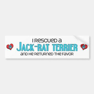 I Rescued a Jack-Rat Terrier (Male) Dog Adoption Car Bumper Sticker