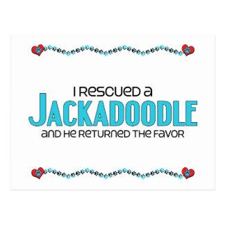 I Rescued a Jackadoodle (Male) Dog Adoption Design Postcard