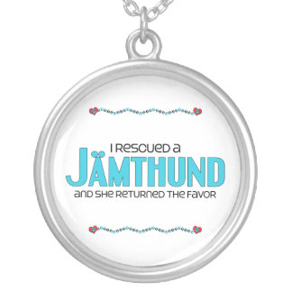 I Rescued a Jämthund (Female Dog) Silver Plated Necklace