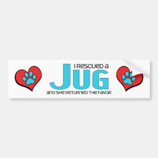 I Rescued a Jug (Female) Dog Adoption Design Bumper Sticker