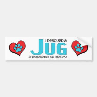 I Rescued a Jug (Female) Dog Adoption Design Car Bumper Sticker