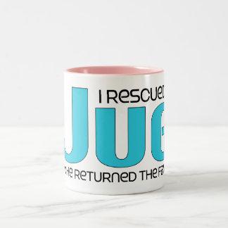 I Rescued a Jug (Male) Dog Adoption Design Two-Tone Coffee Mug