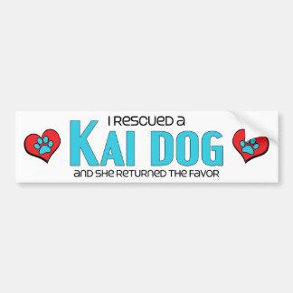 I Rescued a Kai Dog (Female Dog) Car Bumper Sticker