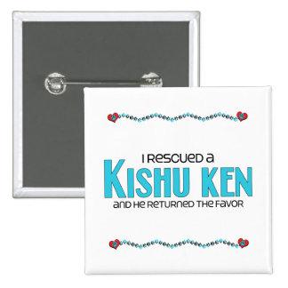 I Rescued a Kishu Ken (Male Dog) 2 Inch Square Button