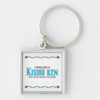 I Rescued a Kishu Ken (Male Dog) Silver-Colored Square Keychain