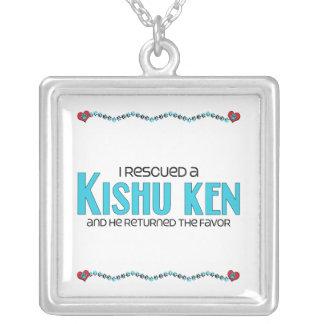 I Rescued a Kishu Ken (Male Dog) Square Pendant Necklace